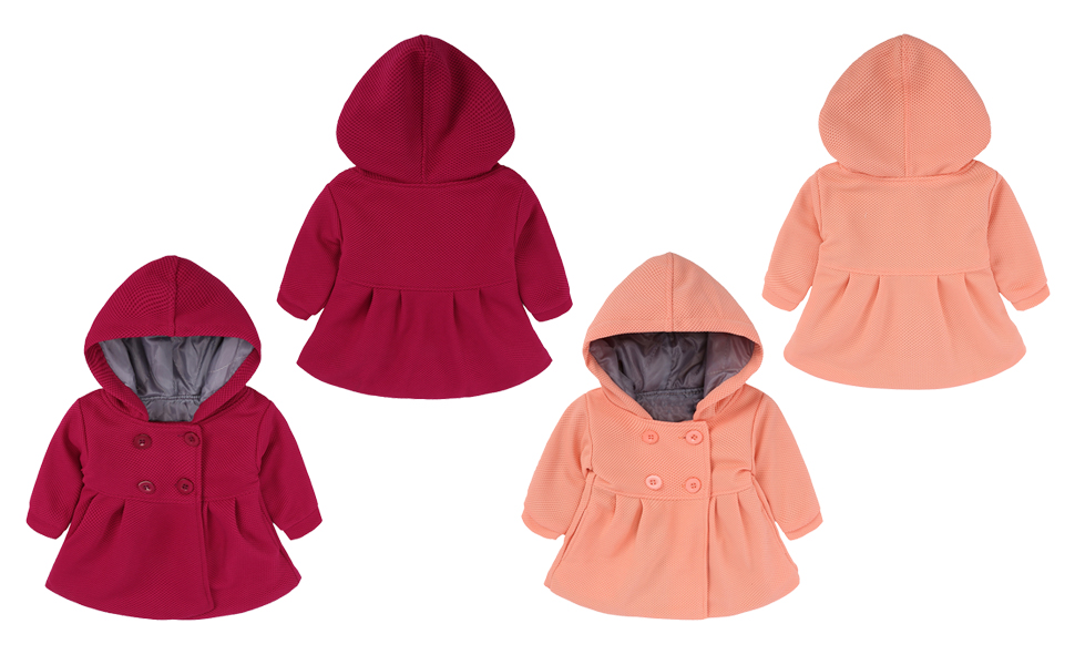 86c6a67fee4c Amazon.com  EGELEXY Baby Girl s Hooded Wool Cotton Trench Coat ...