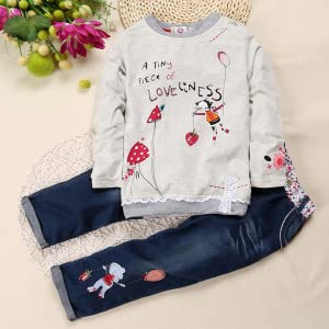 Kids Baby Girl Children Floral Long T-shirt Top+Jean Pants Set Outfit b7e101fa1647