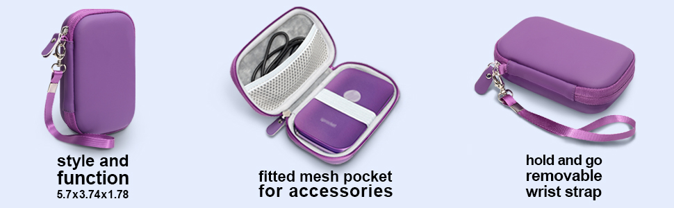 Zip Mobile Printer Mesh Pocket for Photo Paper and Cable Lifeprint 2x3 Photo and Video Printer Polaroid Snap Touch CaseSack Portable Photo Printer Case for HP Sprocket Portable Photo Printer
