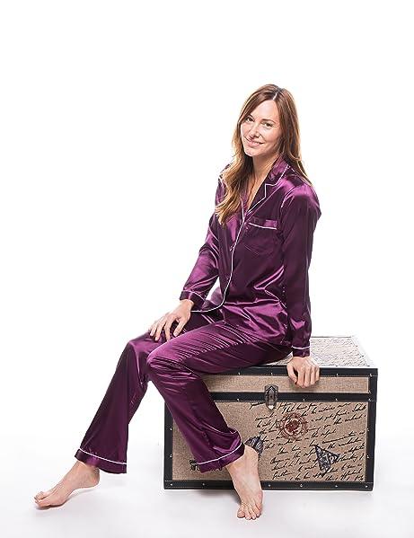 Noble Mount Twin Boat Damen Pyjamahose aus Satin