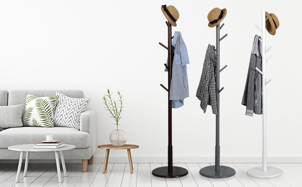 Vlush Sturdy Wooden Coat Rack Stand, Entryway Hall Tree Coat Tree with Solid Round Base for Hat,Clothes,Purse,Scarves,Handbags,Umbrella-(8 Hooks,Dark ...