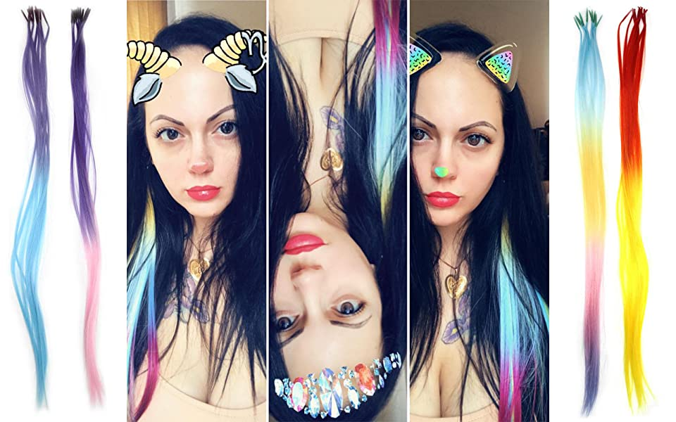 Amazon christmas gift bright pretty colors synthetic hair kisspat multi colored hair extension kit from pmusecretfo Images