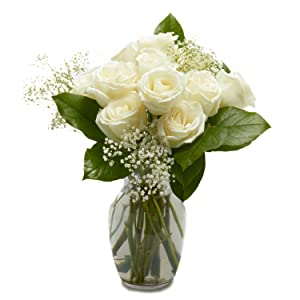 Amazon flowers one dozen white roses free vase included upon arrival remove flowers from wrap and arrange in vase to your liking mightylinksfo