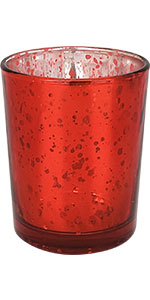 Just Artifacts Mercury Glass Votive - Speckled Red