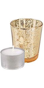 Just Artifacts Mercury Glass Votive - Speckled Gold