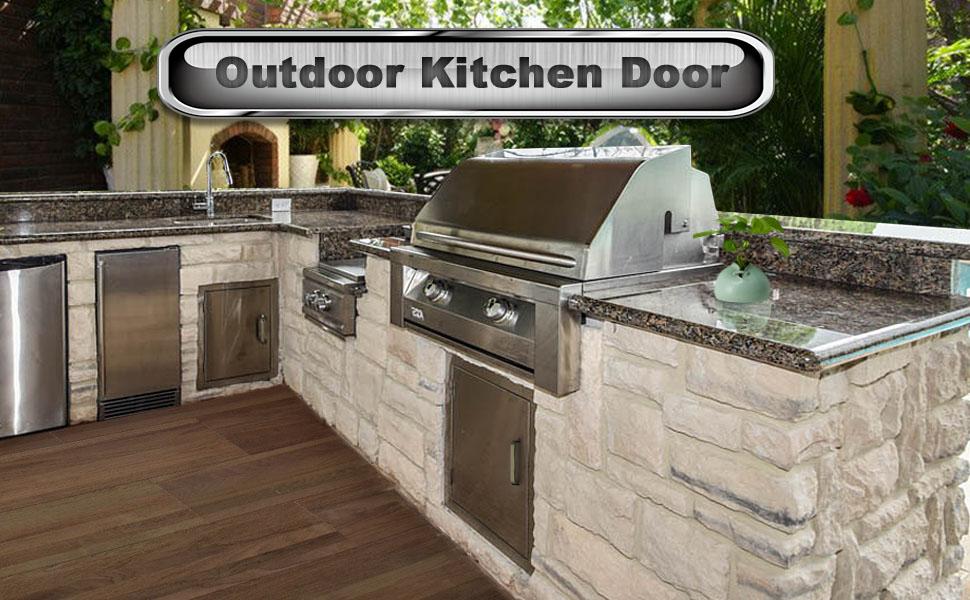 Seeutek Outdoor Kitchen Doors 14W x 20H Inch BBQ Access Door - Stainless  Steel Single Wall Construction Vertical Door for Outdoor Kitchen Grilling  ...