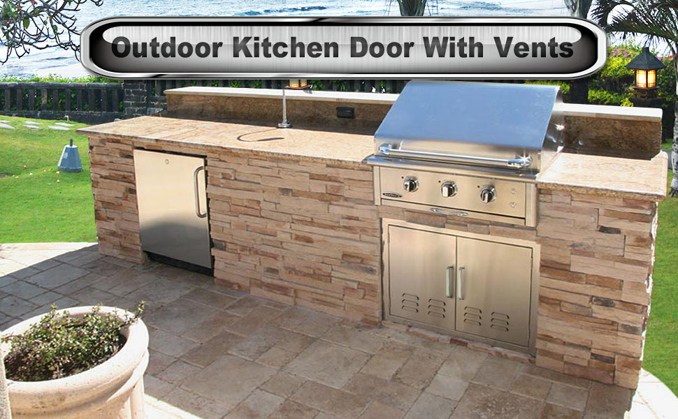 Amazon.com : Outdoor Kitchen Door BBQ Access Door with Vents ...