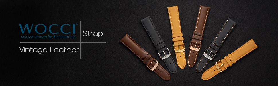 wocci watch band leather strap brown black buckle pin tool men women replacement bracelet belt for