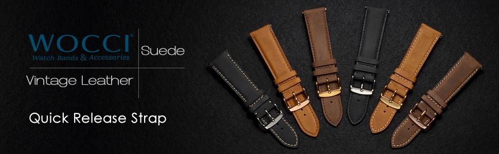 wocci watch band strap belt bracelet replacement for men women pin buckle brown black tan leather