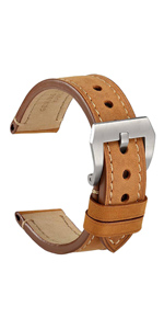 WOCCI watch band strap large buckle belt bracelet thick tan for men replacement 18 20 22 24 pin