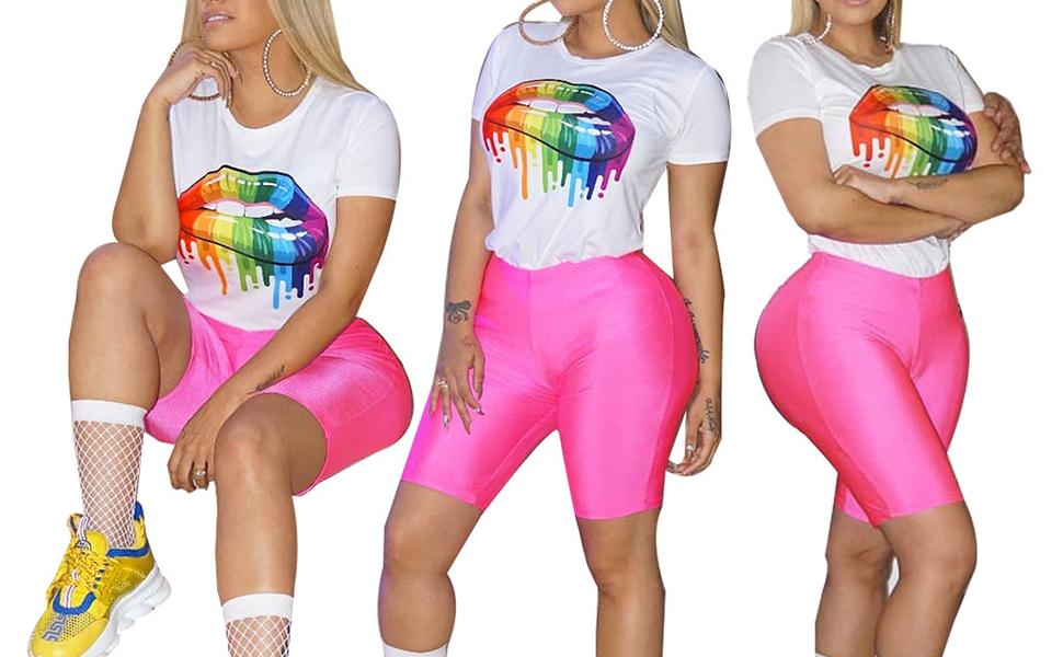 Amazon Com Halfword Conjunto De 2 Piezas De Pantalones Cortos De Licra Para Mujer Clothing