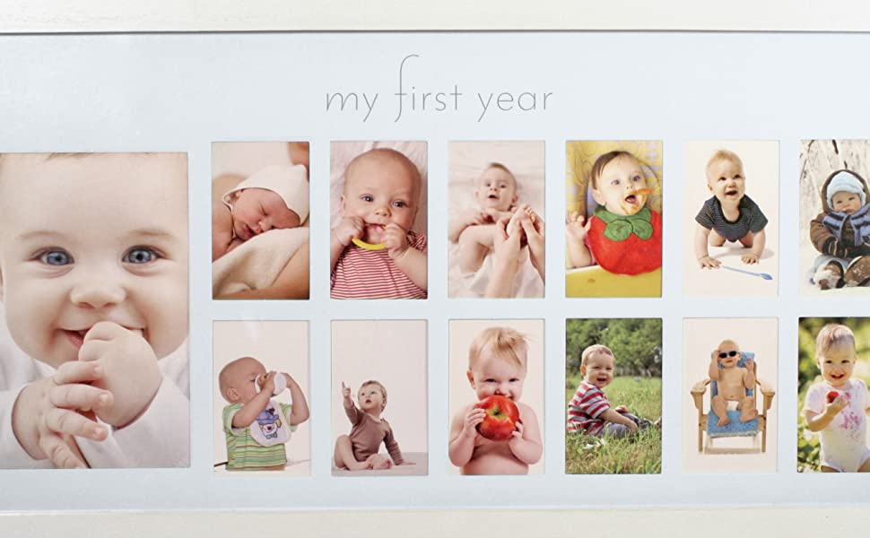 My Baby Picture for... Baby/'s First Year Frame in Elegant White Natural Wood