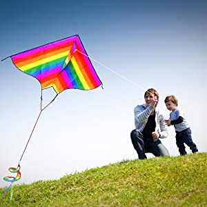 Flying kite with kid