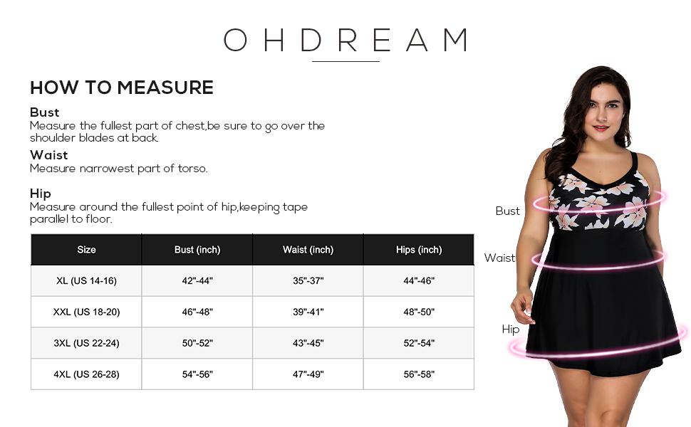 Ohdream Women S Plus Size Swimsuit 2 Piece V Neck Floral Print Swimdress Tummy Control Bottom Slim A Line Bathing Suit