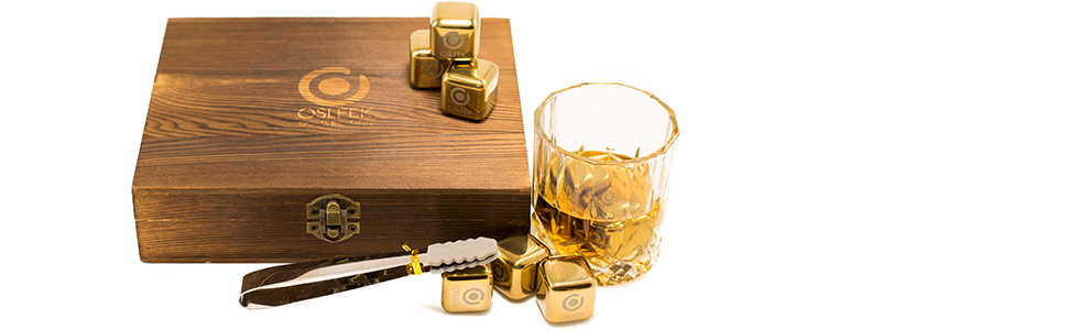 osleek gold whiskey stones