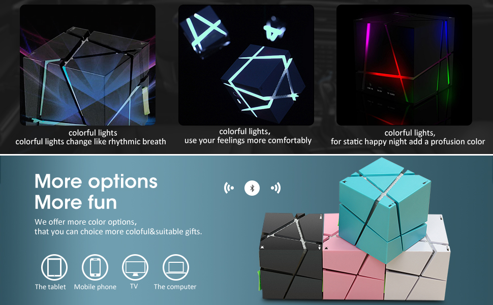Qone Bluetooth Wireless Portable Magic Cube LED Speaker for Smartphones Tablets