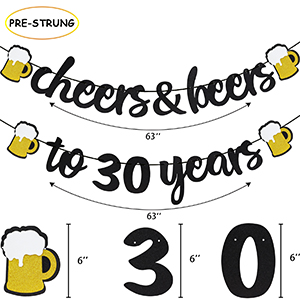 30 Years Anniversary Decorations - Cheers & Beers to 30 Years Banner Thirty Sign Latex Balloon 40 inch