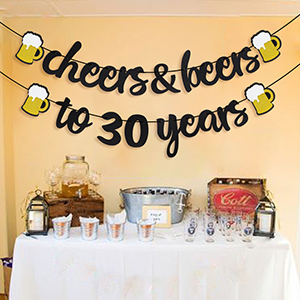 Joymee Cheers & Beers to 30 Years Black Glitter Banner for 30th Birthday Wedding Aniversary Party Supplies Decorations - PRESTRUNG (Cheers & Beers to ...