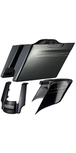 Us Stock Vivid/Glossy Black 4 1/2 inch Stretched Saddlebags