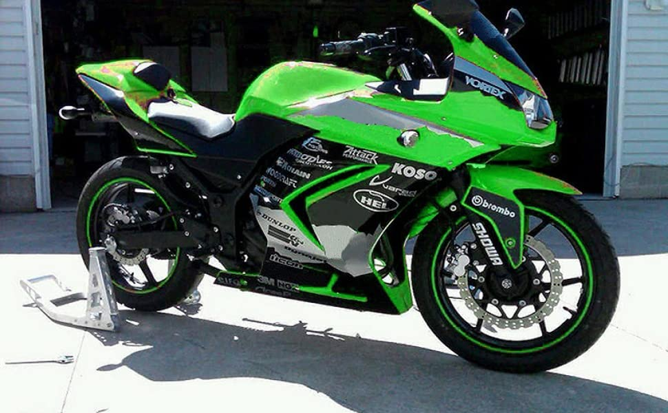Moto Onfire Fairings Kits Fit for 2008-2012 Kawasaki Ninja 250R EX250 08 09 10 11 12(Green Black)