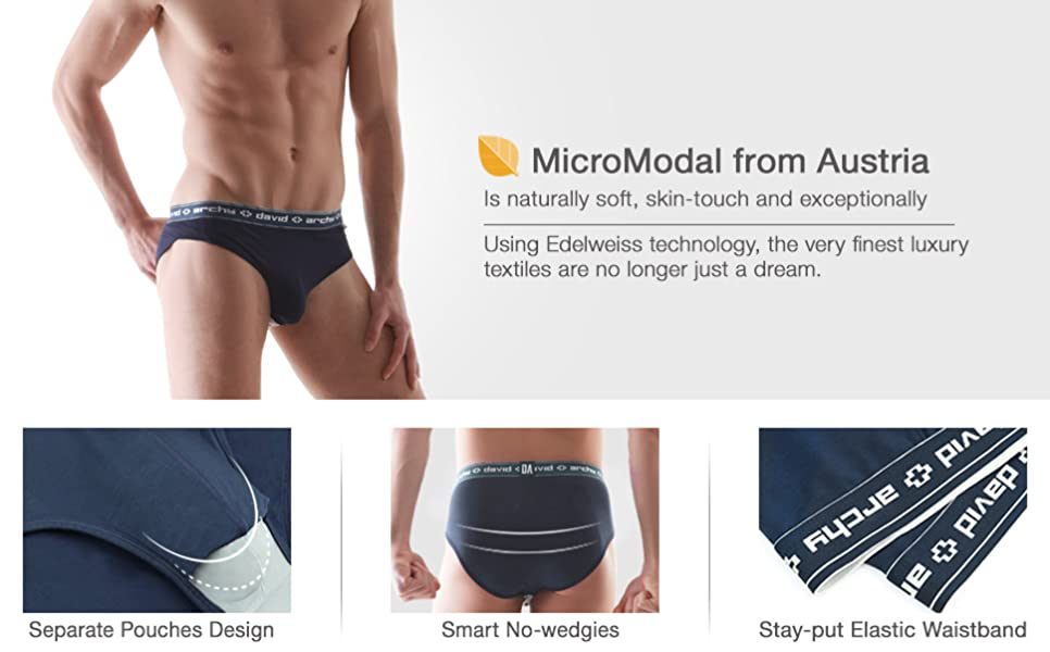 611a17a46f David Archy Men's 4 Pack Micro Modal Separate Pouch Briefs with Fly ...