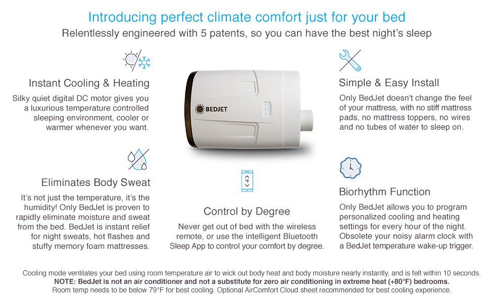 bedjet bed mattress cooling warming temperature sleep sleeping programmable biorhythm