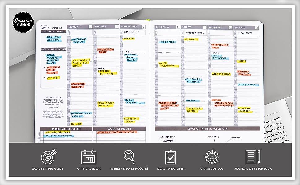 Passion Planner weekly layout calendar schedule to do list organizer hourly goals gratitude log