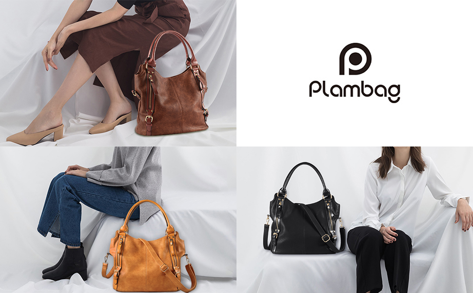 8f1719877 Perfect for everyday wear, this roomy faux leather shoulder bag from Plambag  features a center-zip divider that helps organize essentials.
