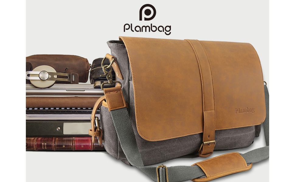 Enjoy the convenience of hands-free travel and daily commutes with the  classic Plambag Canvas Messenger Bag. It features a dual padded compartment  for ... a56d1194bd6d2
