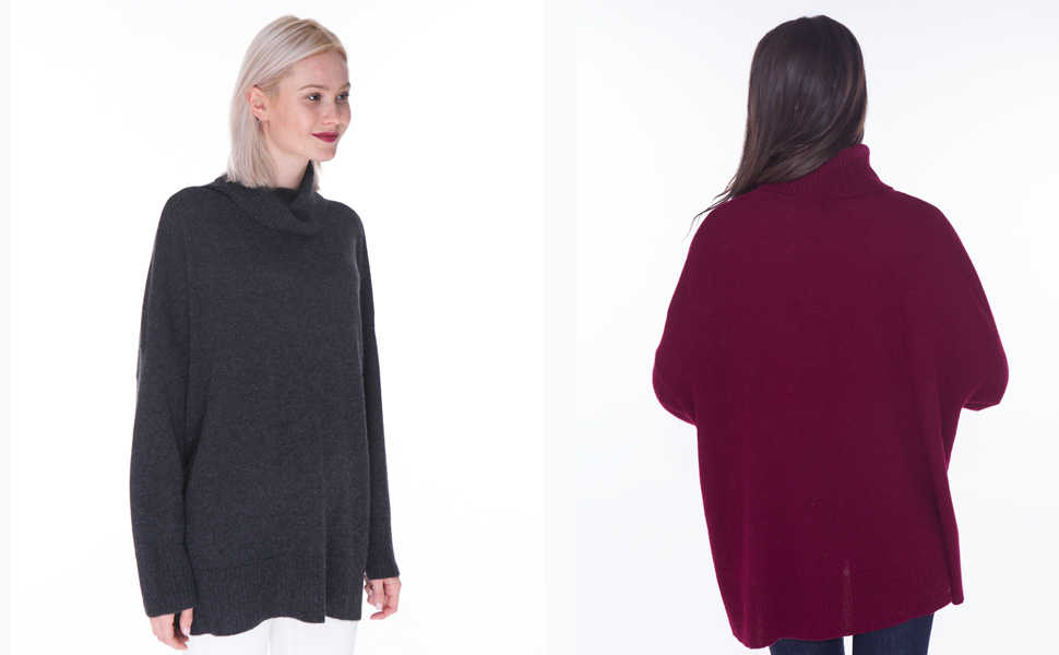 0077a2ed04a cashmere 4 U Women's 100% Cashmere Turtleneck Oversized Pullover Sweater  for Plus Size