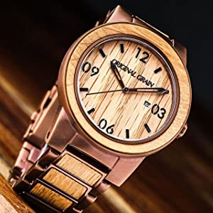 wood espresso steel whiskey pin barrel watches