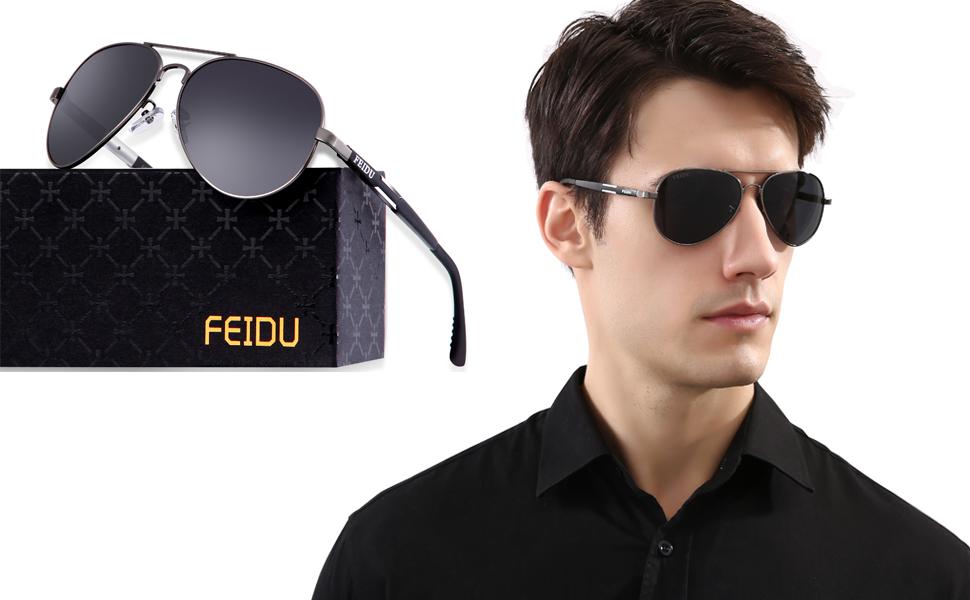 2fdf6aef48 Amazon.com  FEIDU Mens Polarized Aviator Sunglasses Metal Frame ...