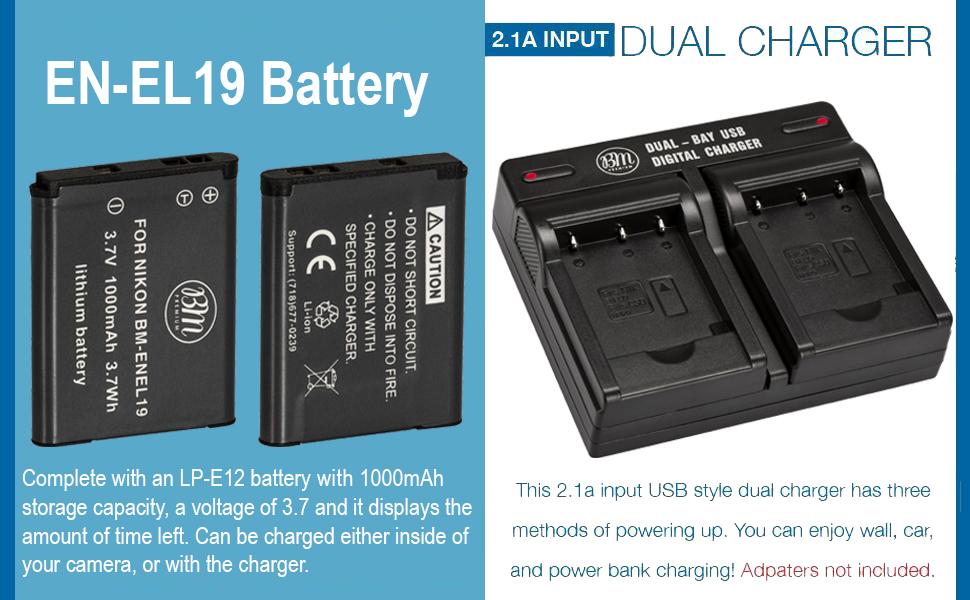 BM 2 EN-EL19 Batteries & Dual Battery Charger for Nikon Coolpix A300, W100, W150, S3100, S3200, S3300, S3500, S3600, S3700, S4100, S4200, S4300, ...