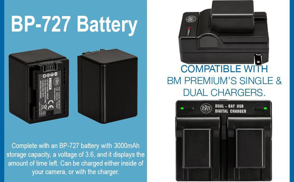 BM Premium BP-727 Battery for Canon Vixia HF R80, HF R82, HF R800, HFR70, HFR72, HFR700, HFM50, HFM52, HFM500, HFR30, HFR32, HFR300, HFR40, HFR42, ...