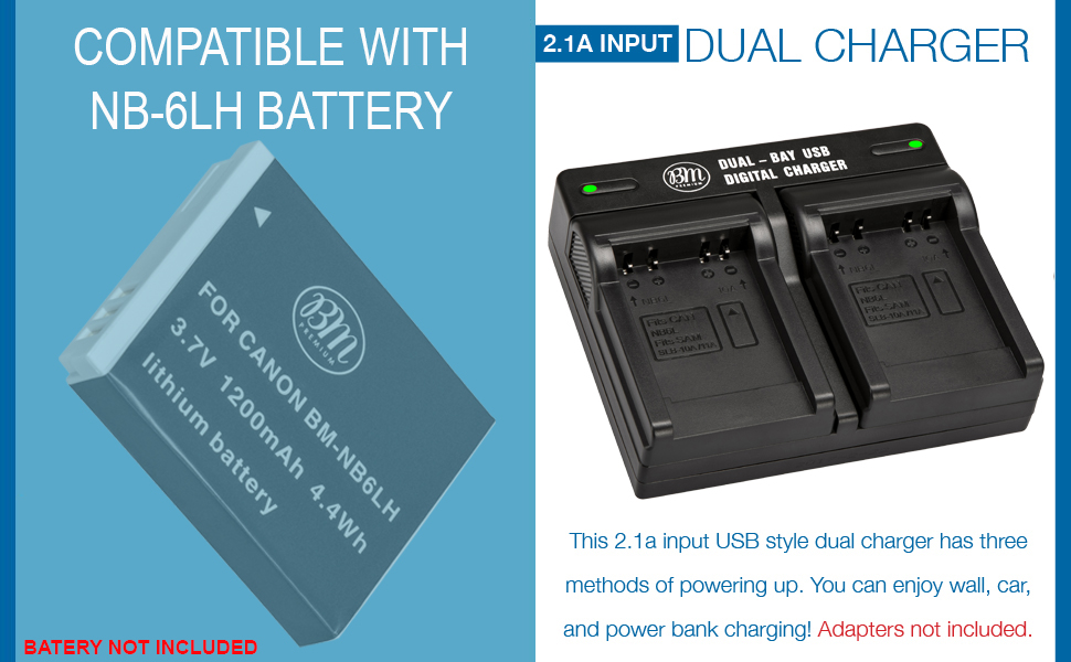 Battery Charger for NB-6L Battery (CB-2LY Replacement)