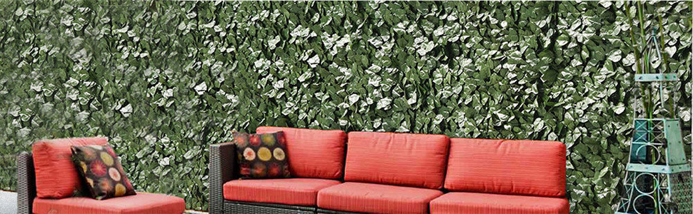 Garden fence privacy screen outdoor expandable faux ivy