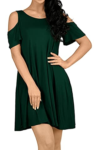 b32b8047b5d1 Plus Size Cold Shoulder T-shirt Dress. This cold shoulder shift dress is in  solid color, with lovely ruffle sleeves ...