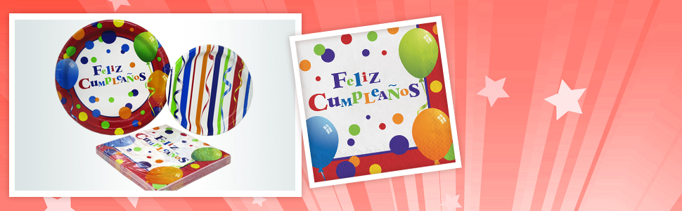 Amazon.com: Feliz Cumpleanos Party Packs (48 Pieces for 16 ...