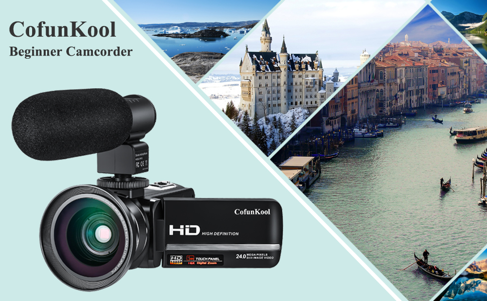 CofunKool camcorder 1080p full HD video camera with microphone wide angle lens
