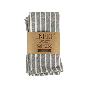 Beige Pack of 12 INFEI Soft White Striped Linen Cotton Dinner Napkins - for Events /& Home Use 17 x 17 inches