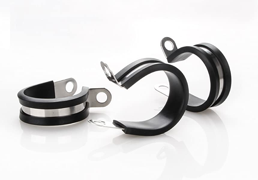 20 Pack 3//4 Inch Stainless Steel Cable Clamp Rubber Cushioned Insulated Metal