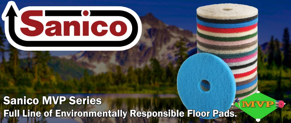 """Case of 5 Sanico MVP Lead Off 13/"""" Red Buffing Floor Pad"""