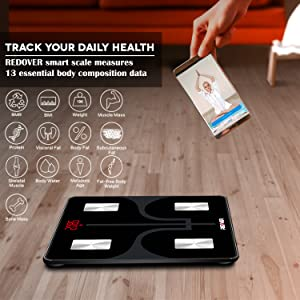 Redover Bluetooth Body Fat Smart Fitness Scale with 13 body composition data
