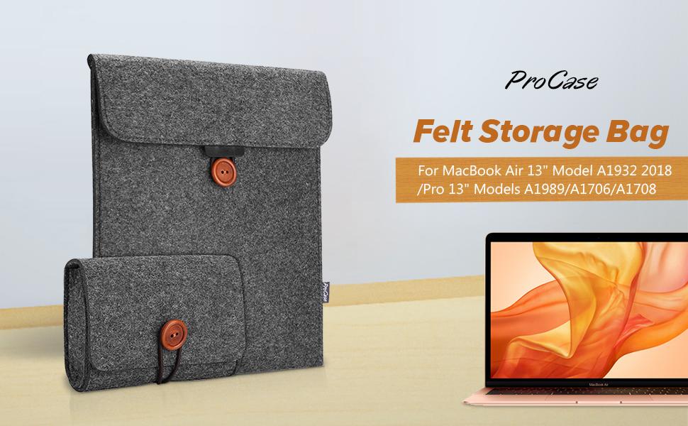 ProCase MacBook Air 13 Inch/MacBook Pro 13 Inch Laptop Sleeve 2018 2017 2016, Felt Sleeve Case Cover for MacBook Air 13 A1932/MacBook Pro 13/iPad Pro ...