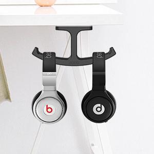 Headphone Stand Hanger JOTO Silicone Under Desk Dual Headset Holder Mount New
