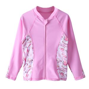 Girls Long Sleeve Swim shirts with zip