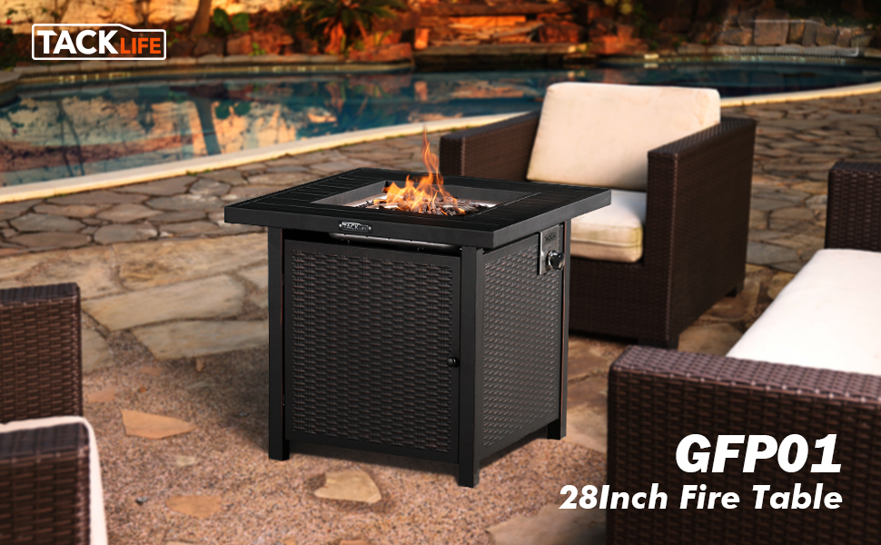 Tacklife Gas Fire Table 28 Inch 50 000 Btu Auto Ignition