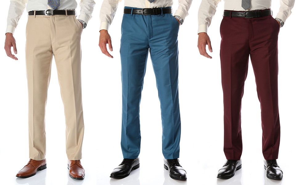 Amazon Com Ferrecci Halo Slim Fit Pantalones De Vestir Para Hombre Clothing