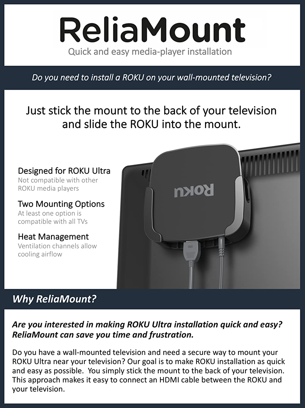 Amazon.com: ReliaMount Roku Ultra Mount: Computers & Accessories