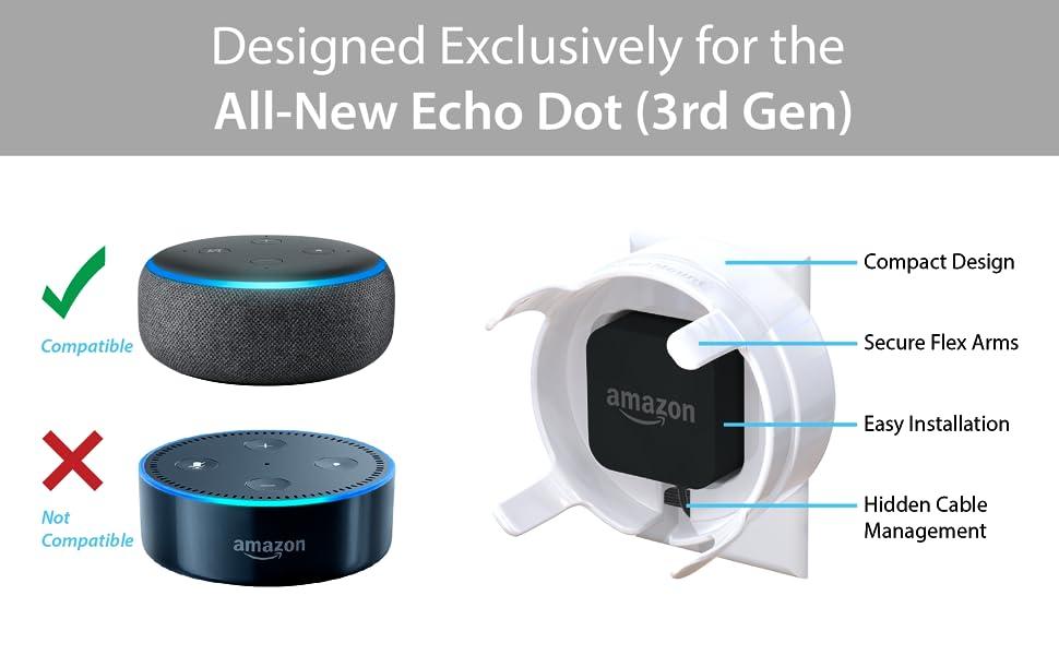 Amazon Com Totalmount Outlet Mount For Echo Dot 3rd Gen